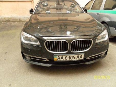 Автомобіль BMW 750LІ, реєстраційний № АА8105АА (рік випуску-2012, колір – чорний, пробіг – 167 187 км.), Навігаційна система, Срібні монети «Видатні Гетьмани України», Ag 999, вага 250 гр. за одиницю, в кількості 25 од.